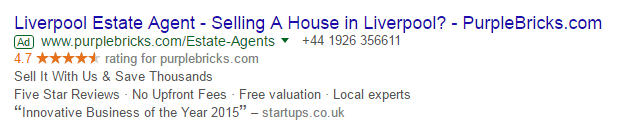 Reviews in Gogle ads