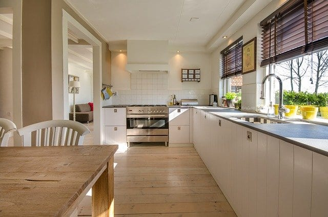 A beautiful, spacious kitchen with lots of natural light.