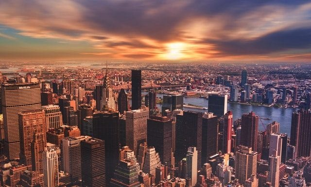 view of NYC buildings with LEED-certified condos